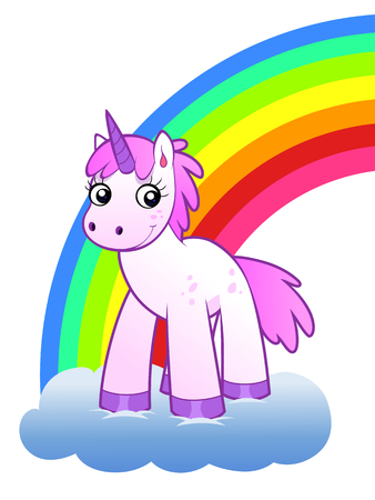 cartoon rainbow: Arco iris y unicornio Vectores