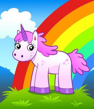 Unicorn in rainbow land