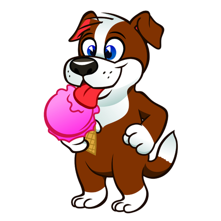 dog eating: Puppy with icecream