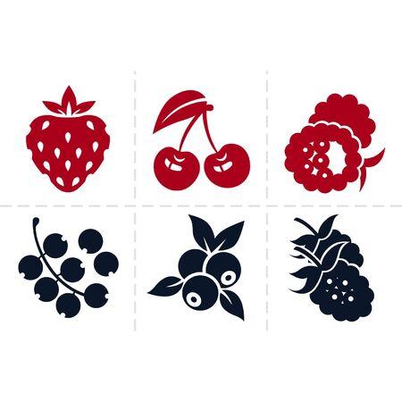 frutos rojos: Berries icon set Vectores