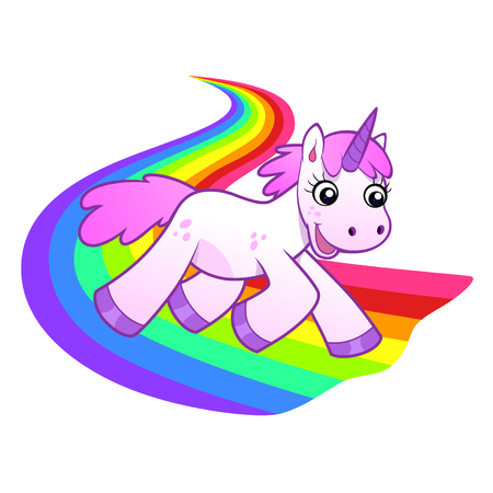 rainbow vector: Unicorn runs on rainbow