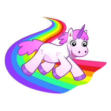 arcoiris caricatura: Unicornio se ejecuta en el arco iris Vectores