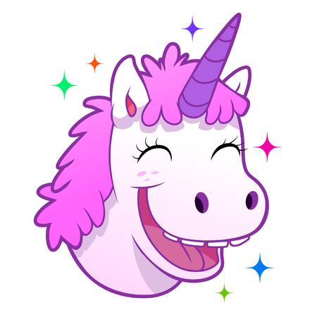 Happy unicorn portrait Illustration