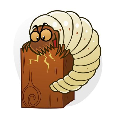 destruct: Cartoon woodworm destruct wood