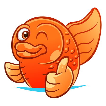 fishes: Gold fish gesturing thumb up