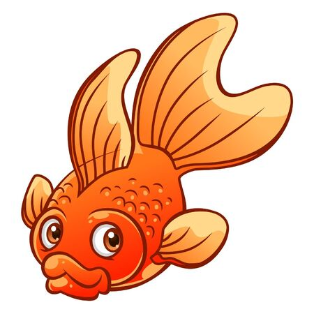 single animal: Cartoon goldfish