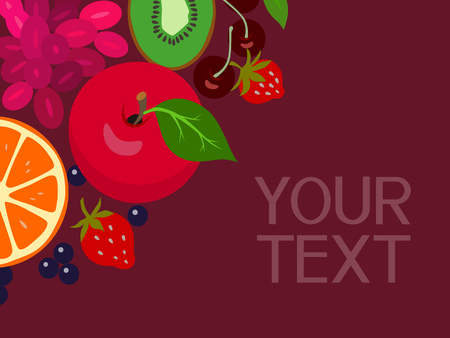 still life food: Abstract vector fruits corner