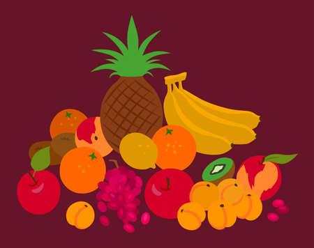 still life food: Abstract vector fruits illustration Illustration