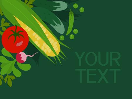 vegetable gardening: Abstract vector vegetables corner
