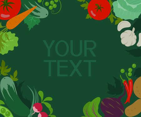 vegetable gardening: Abstract vector vegetables frame Illustration