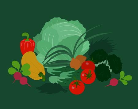 still life food: Abstract vector vegetables illustration