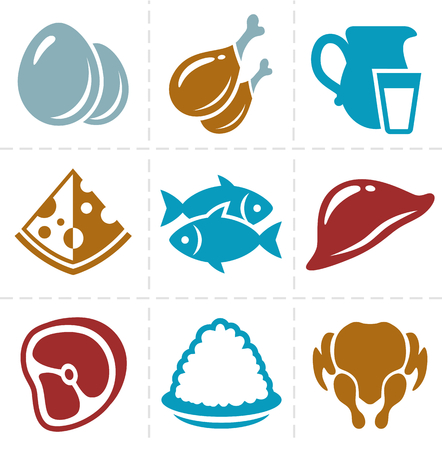 chicken meat: animal foods icon set Illustration