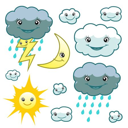 rain cartoon: cute weather set