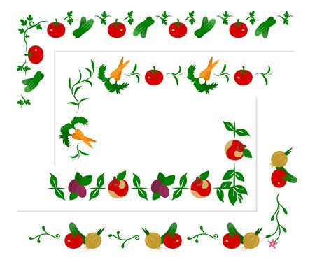 vegetarianism: Collection of vegetable and fruit borders for design. Illustration