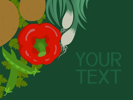 garden plant: Corner vector illustration of vegetables with blank space for text. Illustration