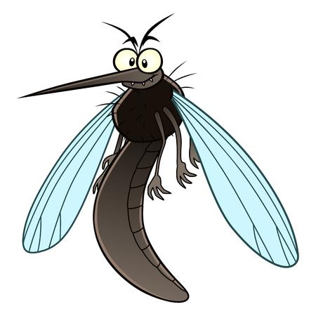 Funny cartoon mosquito. Vector Illustration