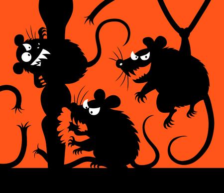 rata caricatura: mouses maliciosos siluetas