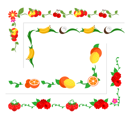 vegetarianism: Collection of berries and fruit borders for design. Illustration