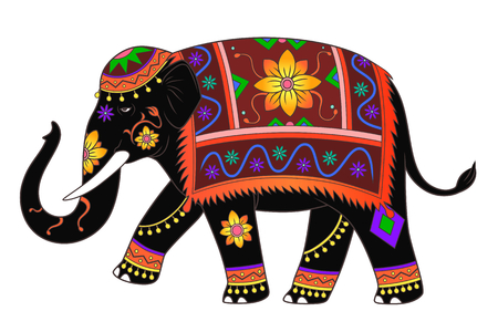 Indian elephant color Illustration
