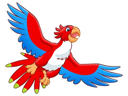 red happiness: Cartoon red flying parrot on the white background.