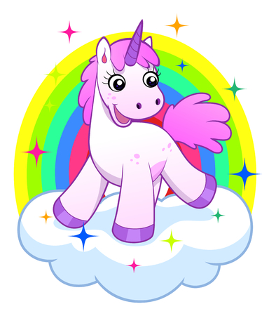 Pink unicorn on cloud and rainbow