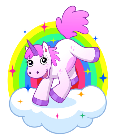 Cheerful cartoon pink unicorn on the cloud with rainbow
