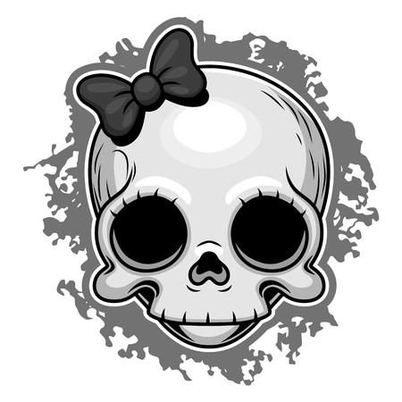 gothic girl: Cute girl skull with ribbon.