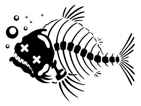 dead fish: Funny fish skeleton with bubbles.