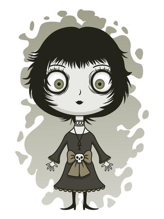 depressive: Cute sullen girl Illustration