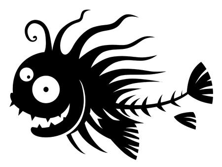loony: Funny black and white cartoon fish skeleton.