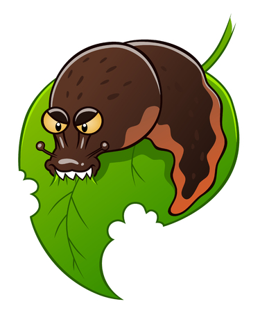slug: Slug eats leaf Illustration