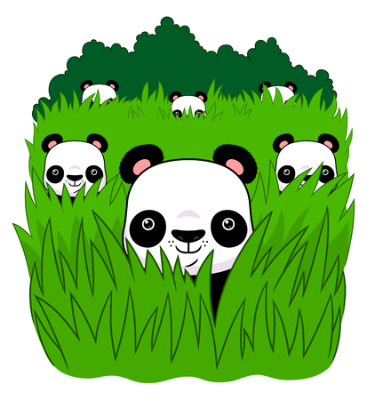 hiding: Six pandas are hiding in the grass. Illustration