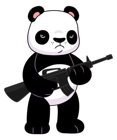 Panda con un rifle