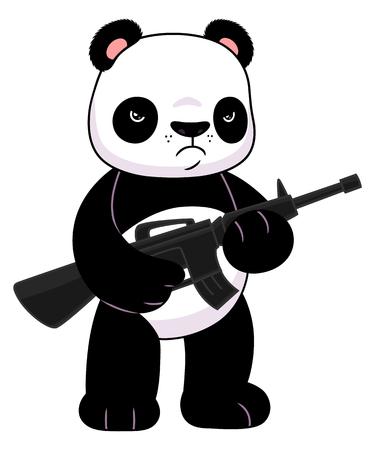 Panda mit einem Gewehr Standard-Bild - 66936076