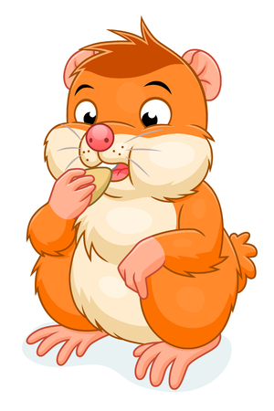 domestic animals: Hamster eats grain Illustration