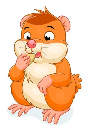 grain: Hamster eats grain Illustration