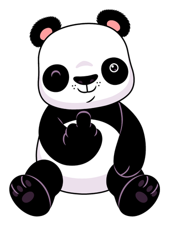 Panda make a middle finger symbol