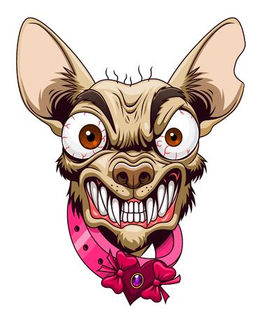 Capo di chihuahua arrabbiato cartone animato