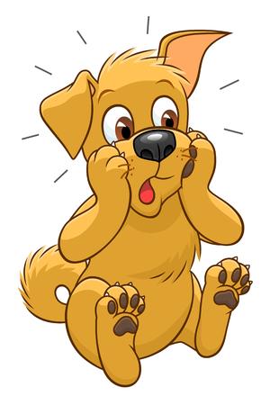 Surprised cartoon cute dog Illustration