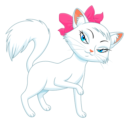 female animal: Cartoon female white cat Illustration