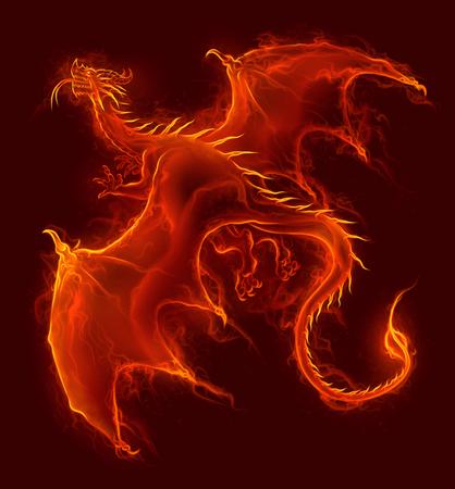 Dragón de fuego que vuela