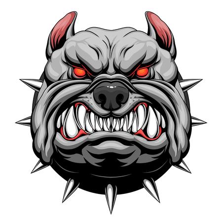 Angry bulldog head