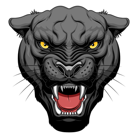 Growling panther face Stock Illustratie