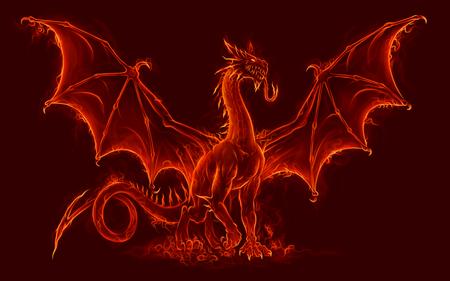 Fuego, medieval, dragón
