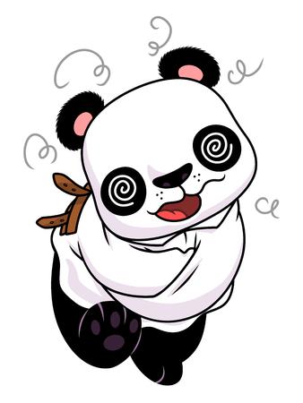 Cartoon crazy panda dressed in straitjacket.