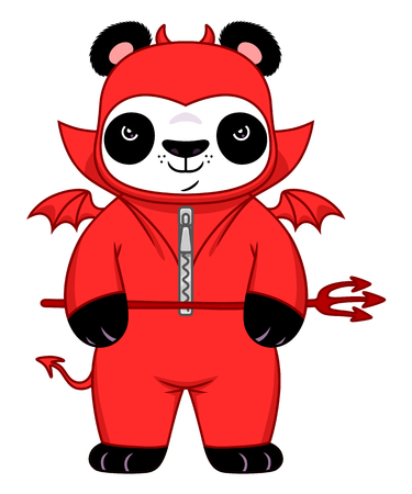 daemon: Cartoon panda in demon suit.