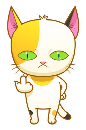 Dziwny kotek tworzy symbol palca średniego