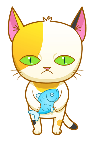 calico: Weird kitten with fish Illustration