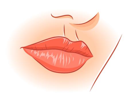 alfa: Illustration of realistic female lips. Illustration