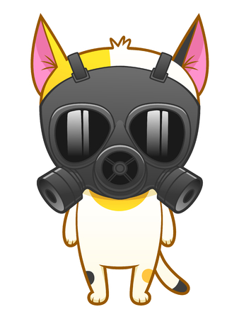 calico: Weird kitten in gas mask Illustration